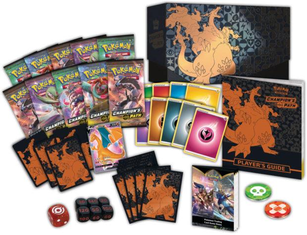 contents of the Pokemon TCG Champion's Path Elite Trainer Box